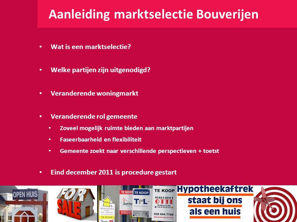 Aanleiding marktselectie Bouverijen Wat is een marktselectie? Welke partijen zijn uitgenodigd? Veranderende woningmarkt Veranderende rol gemeente Zove