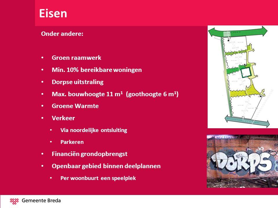 Eisen Onder andere: Groen raamwerk Min. 10% bereikbare woningen Dorpse uitstraling Max. bouwhoogte 11 m 1 (goothoogte 6 m 1 ) Groene Warmte Verkeer Vi