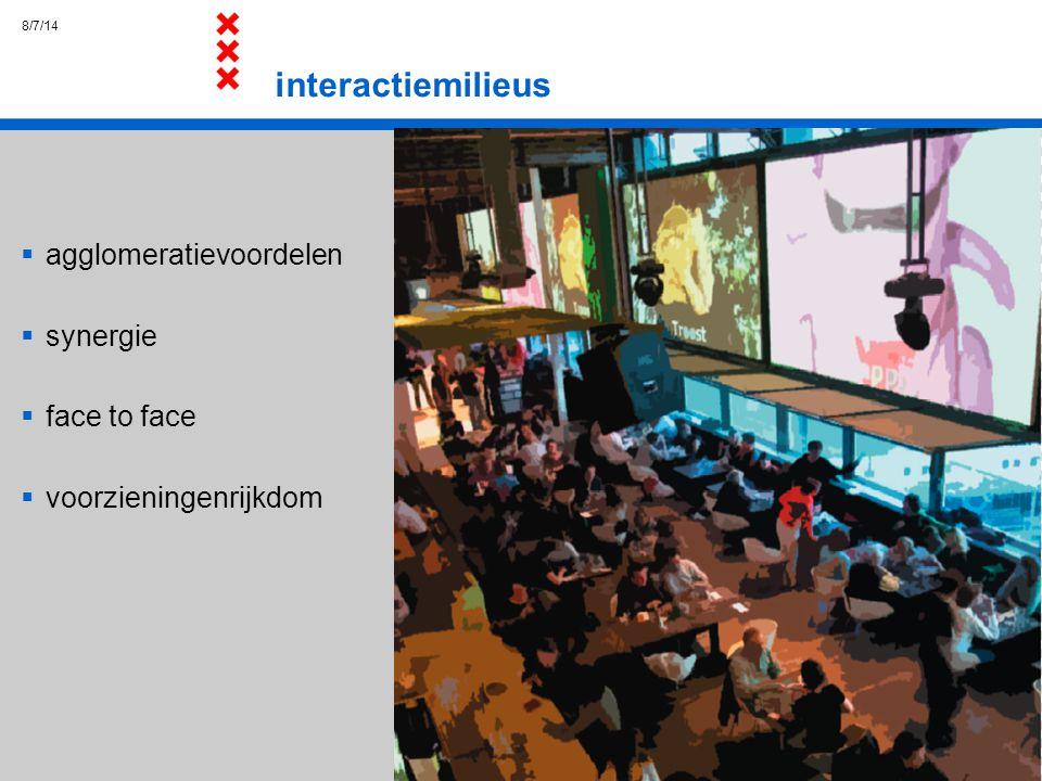 8/7/14 interactiemilieus  agglomeratievoordelen  synergie  face to face  voorzieningenrijkdom