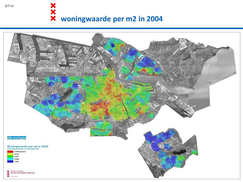 woningwaarde per m2 in 2004