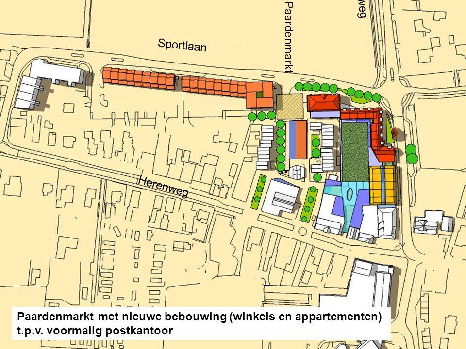 Laanweg Sportlaan Paardenmarkt Herenweg Paardenmarkt met nieuwe bebouwing (winkels en appartementen) t.p.v. voormalig postkantoor