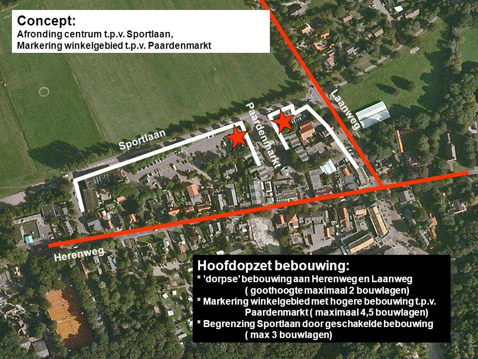 Concept: Afronding centrum t.p.v. Sportlaan, Markering winkelgebied t.p.v. Paardenmarkt Herenweg Laanweg Sportlaan Paardenmarkt Hoofdopzet bebouwing: