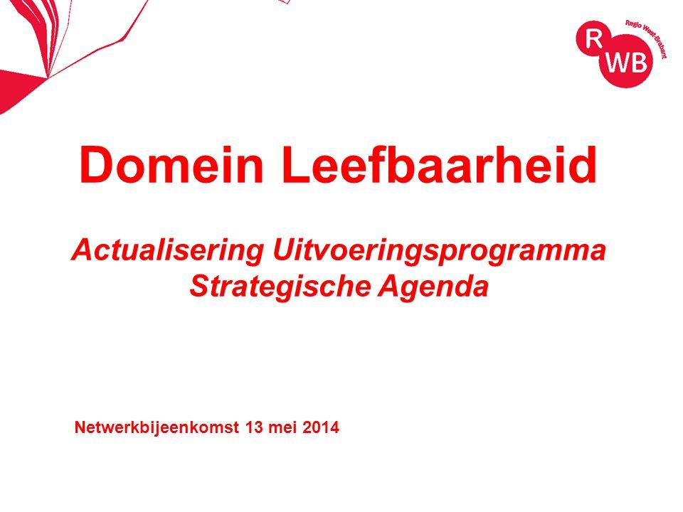 Domein Leefbaarheid Actualisering Uitvoeringsprogramma Strategische Agenda Netwerkbijeenkomst 13 mei 2014