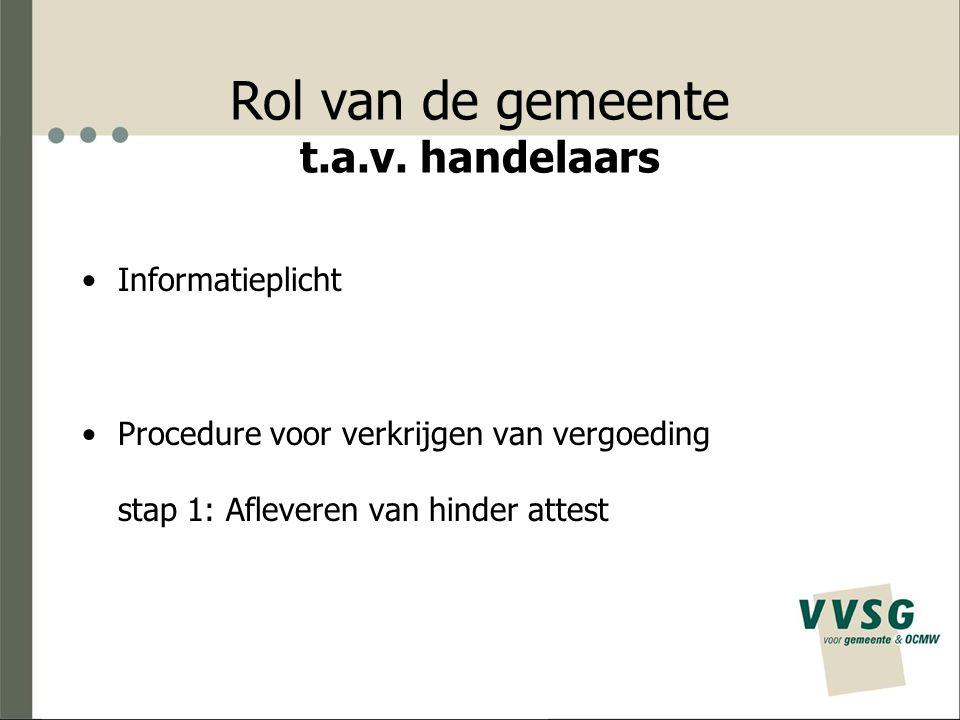 Rol van de gemeente t.a.v. handelaars Informatieplicht Procedure voor verkrijgen van vergoeding stap 1: Afleveren van hinder attest