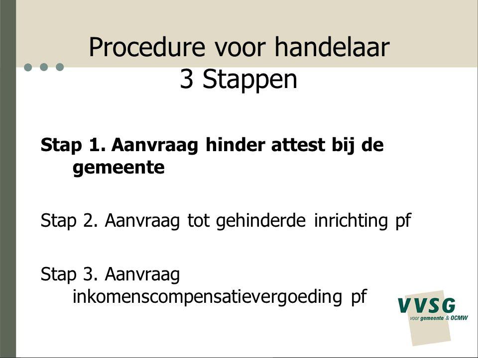 Procedure voor handelaar 3 Stappen Stap 1. Aanvraag hinder attest bij de gemeente Stap 2. Aanvraag tot gehinderde inrichting pf Stap 3. Aanvraag inkom