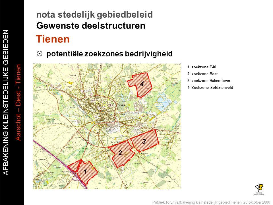 AFBAKENING KlLEINSTEDELIJKE GEBIEDEN Aarschot – Diest - Tienen Publiek forum afbakening kleinstedelijk gebied Tienen 20 oktober 2008  potentiële zoek
