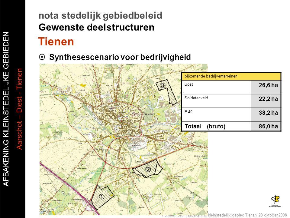 AFBAKENING KlLEINSTEDELIJKE GEBIEDEN Aarschot – Diest - Tienen Publiek forum afbakening kleinstedelijk gebied Tienen 20 oktober 2008  Synthesescenari