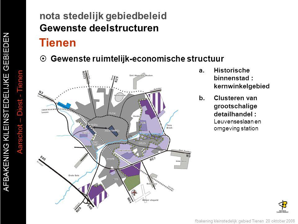 AFBAKENING KlLEINSTEDELIJKE GEBIEDEN Aarschot – Diest - Tienen Publiek forum afbakening kleinstedelijk gebied Tienen 20 oktober 2008 Tienen nota stede