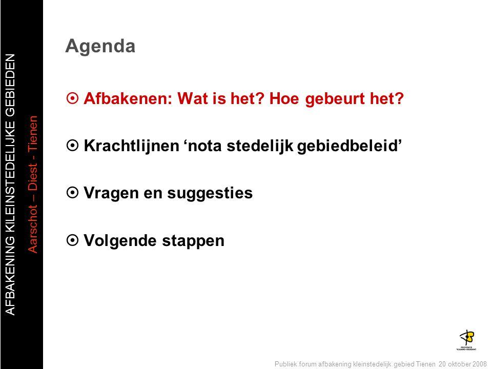 AFBAKENING KlLEINSTEDELIJKE GEBIEDEN Aarschot – Diest - Tienen Publiek forum afbakening kleinstedelijk gebied Tienen 20 oktober 2008 Agenda  Afbakene