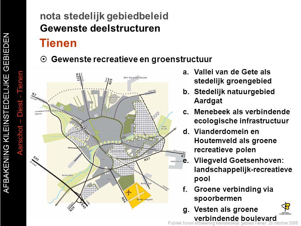 AFBAKENING KlLEINSTEDELIJKE GEBIEDEN Aarschot – Diest - Tienen Publiek forum afbakening kleinstedelijk gebied Tienen 20 oktober 2008  Gewenste recrea
