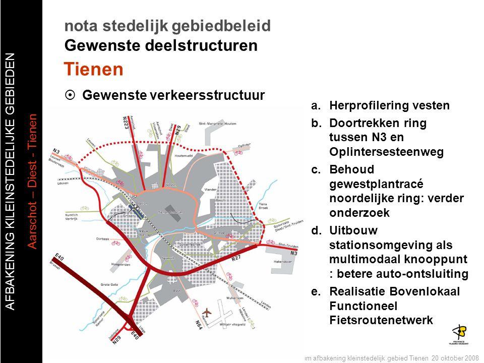 AFBAKENING KlLEINSTEDELIJKE GEBIEDEN Aarschot – Diest - Tienen Publiek forum afbakening kleinstedelijk gebied Tienen 20 oktober 2008  Gewenste verkee