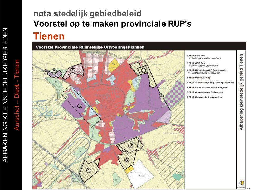 AFBAKENING KlLEINSTEDELIJKE GEBIEDEN Aarschot – Diest - Tienen Publiek forum afbakening kleinstedelijk gebied Tienen 20 oktober 2008 nota stedelijk ge