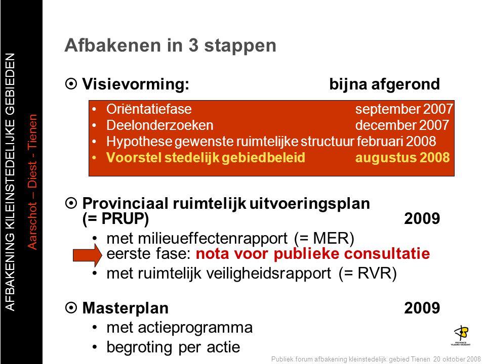 AFBAKENING KlLEINSTEDELIJKE GEBIEDEN Aarschot – Diest - Tienen Publiek forum afbakening kleinstedelijk gebied Tienen 20 oktober 2008  Visievorming: b