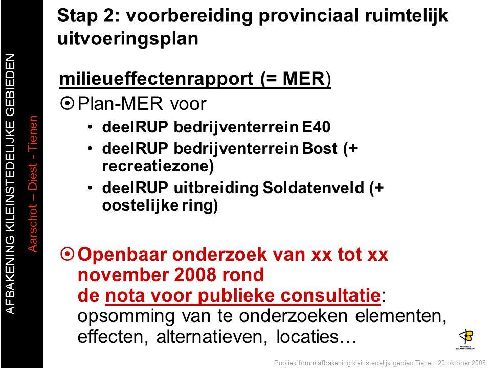 AFBAKENING KlLEINSTEDELIJKE GEBIEDEN Aarschot – Diest - Tienen Publiek forum afbakening kleinstedelijk gebied Tienen 20 oktober 2008 Stap 2: voorberei
