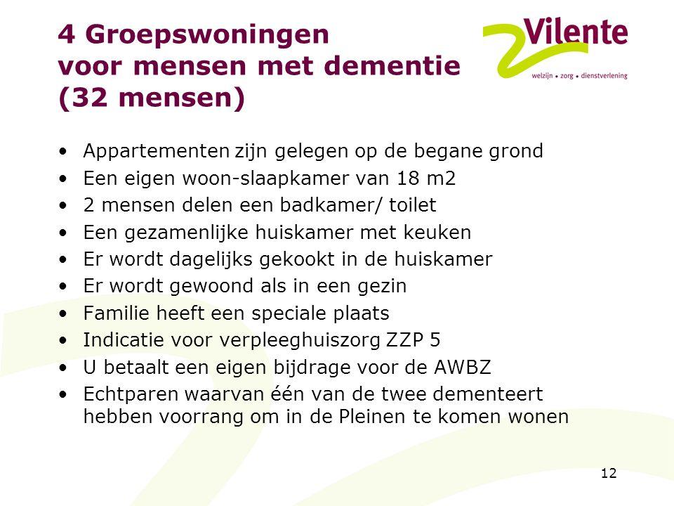 12 4 Groepswoningen voor mensen met dementie (32 mensen) Appartementen zijn gelegen op de begane grond Een eigen woon-slaapkamer van 18 m2 2 mensen de