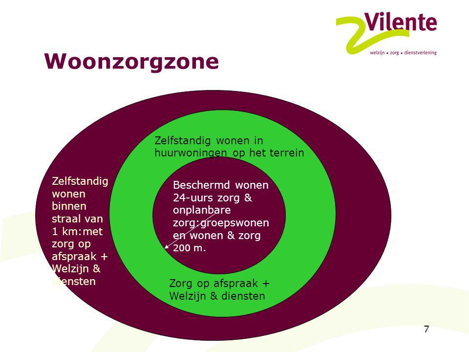 7 Woonzorgzone Zorg Beschermd wonen Zelfstandig wonen binnen straal van 1 km:met zorg op afspraak + Welzijn & diensten Zelfstandig wonen in huurwoning