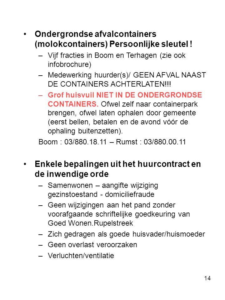 14 Ondergrondse afvalcontainers (molokcontainers) Persoonlijke sleutel .
