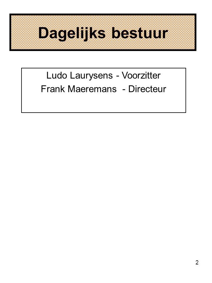 2 Dagelijks bestuur Ludo Laurysens - Voorzitter Frank Maeremans - Directeur