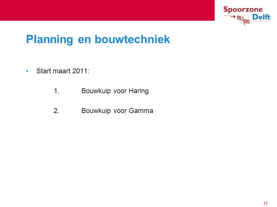 Start maart 2011: 1.Bouwkuip voor Haring 2.Bouwkuip voor Gamma Planning en bouwtechniek 13