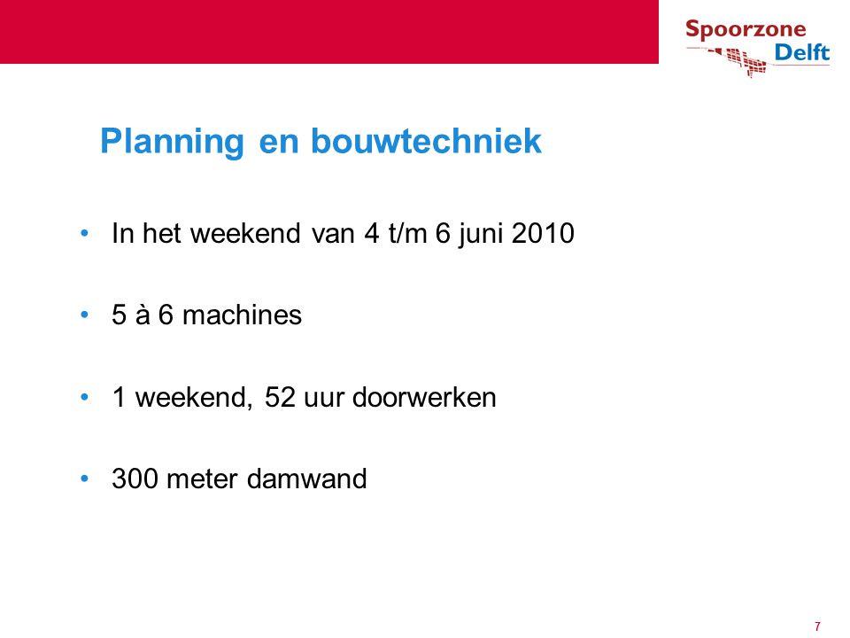 In het weekend van 4 t/m 6 juni 2010 5 à 6 machines 1 weekend, 52 uur doorwerken 300 meter damwand Planning en bouwtechniek 7