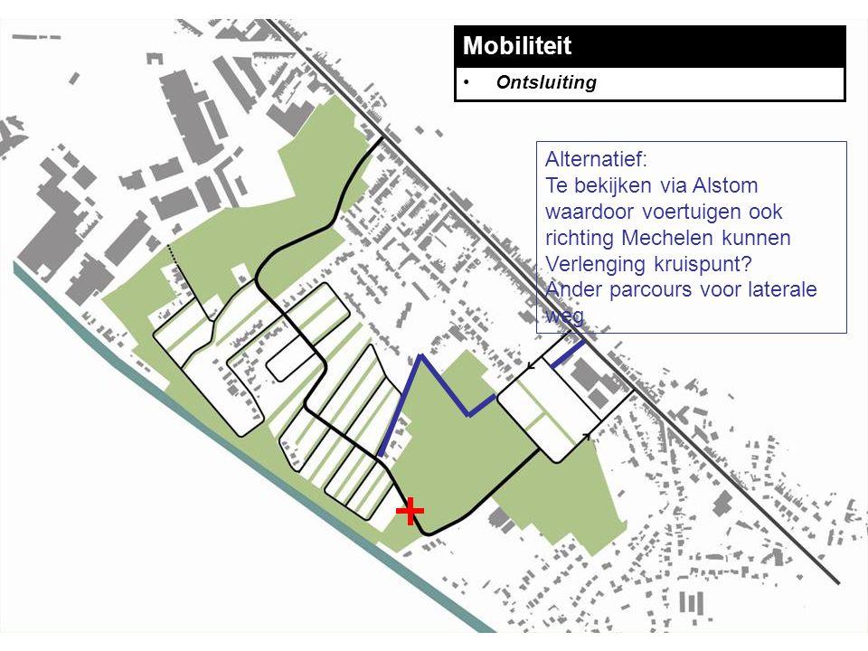 Mobiliteit Ontsluiting Alternatief: Te bekijken via Alstom waardoor voertuigen ook richting Mechelen kunnen Verlenging kruispunt.