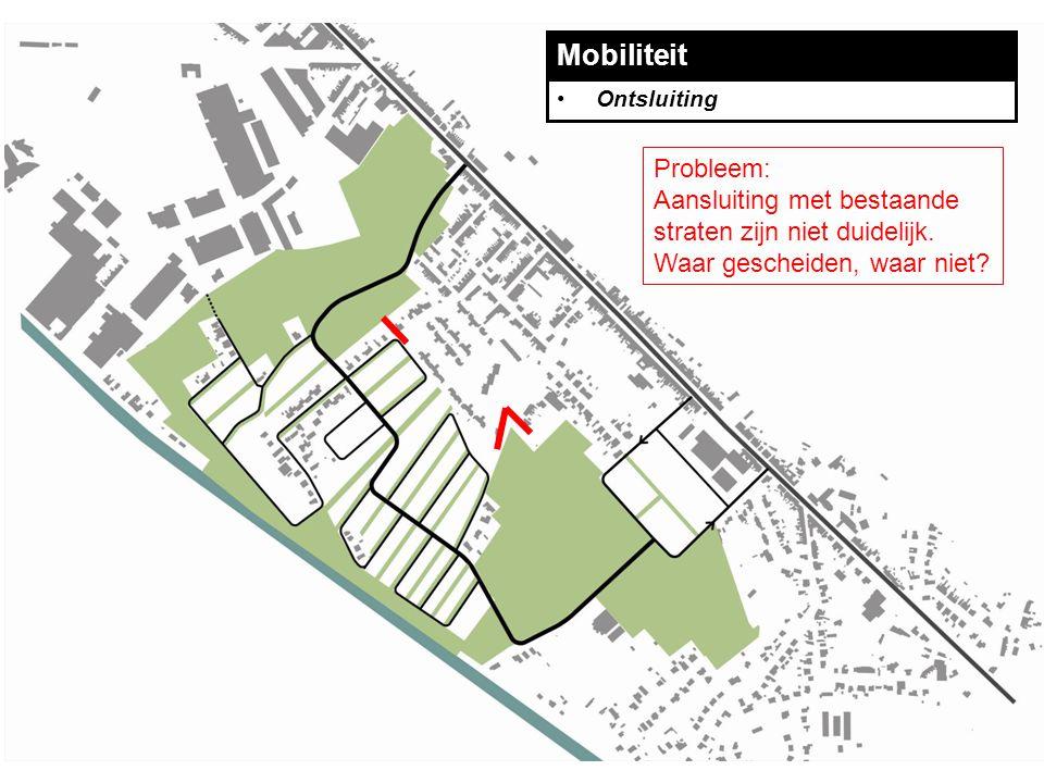 Mobiliteit Ontsluiting Probleem: Aansluiting met bestaande straten zijn niet duidelijk.