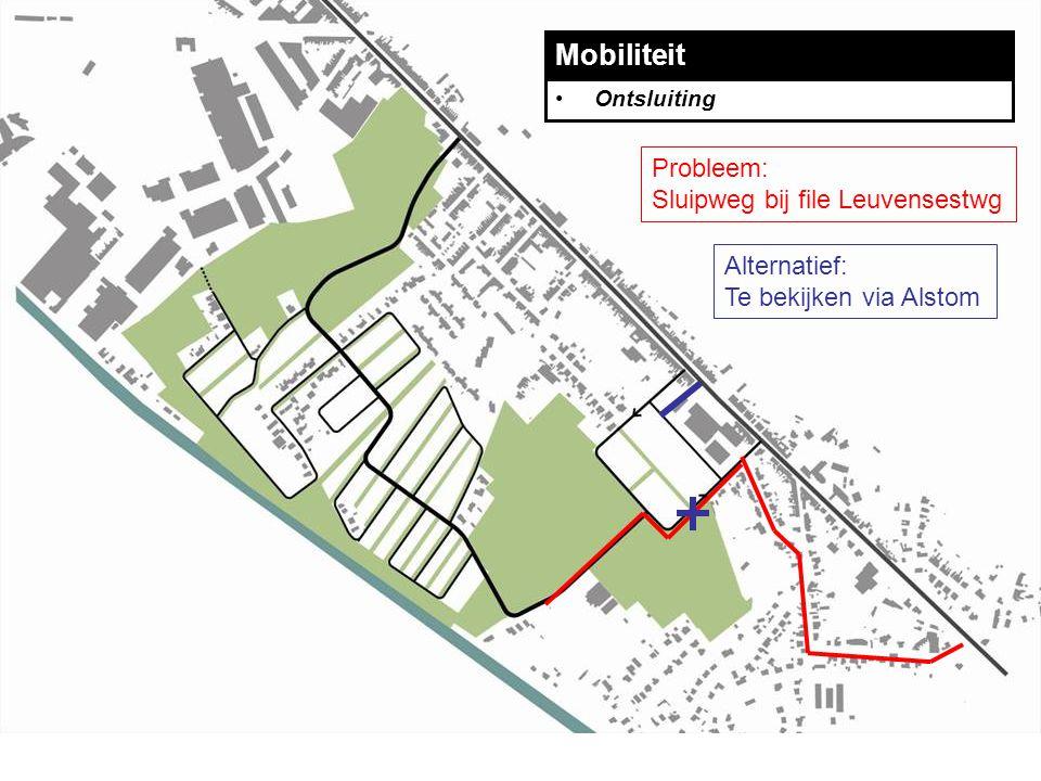 Mobiliteit Ontsluiting Probleem: Sluipweg bij file Leuvensestwg Alternatief: Te bekijken via Alstom
