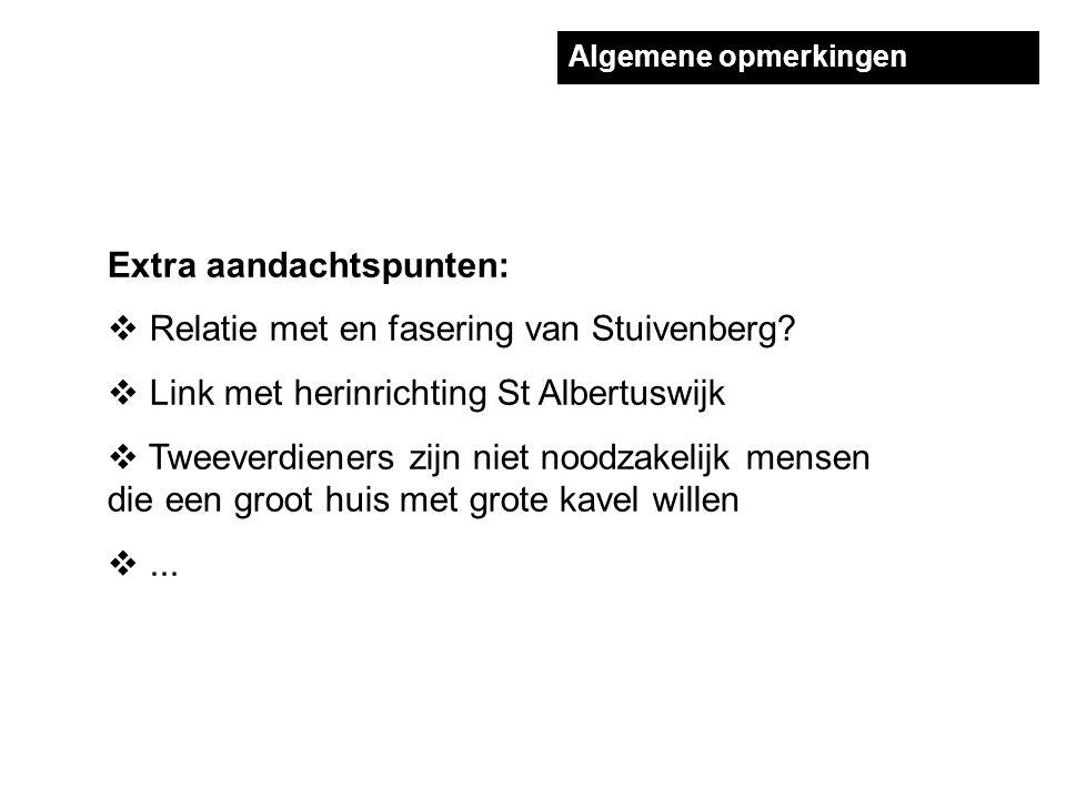 Algemene opmerkingen Extra aandachtspunten:  Relatie met en fasering van Stuivenberg.
