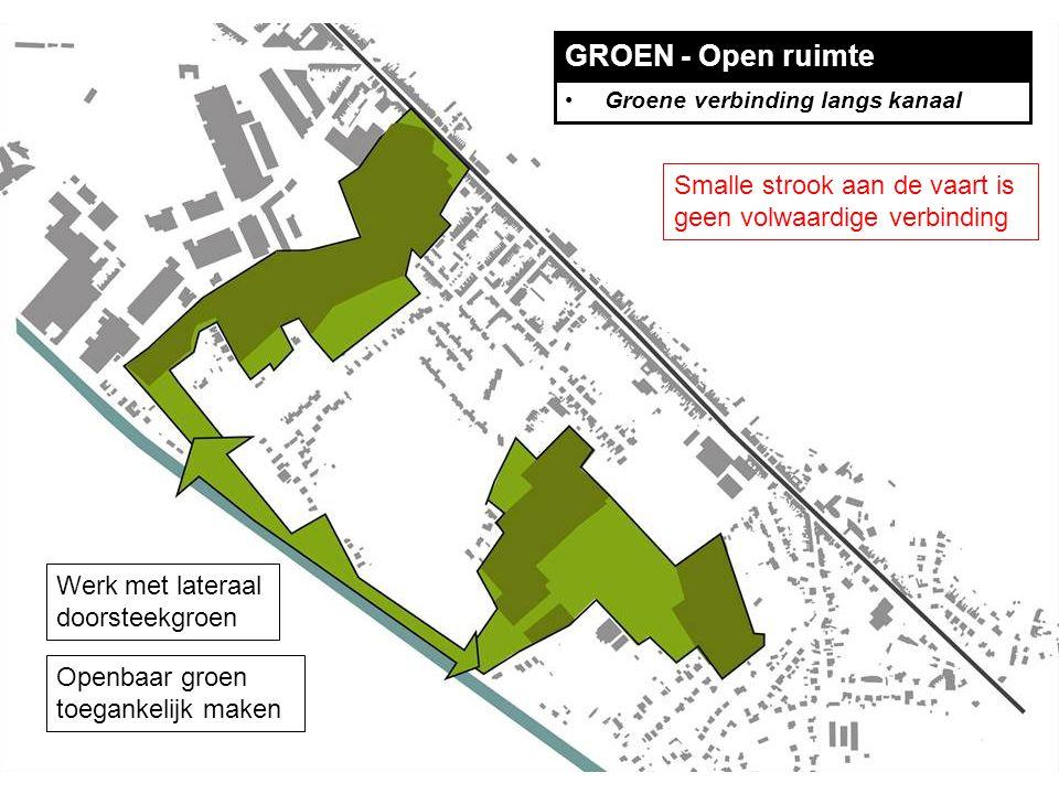 GROEN - Open ruimte Groene verbinding langs kanaal Smalle strook aan de vaart is geen volwaardige verbinding Werk met lateraal doorsteekgroen Openbaar groen toegankelijk maken