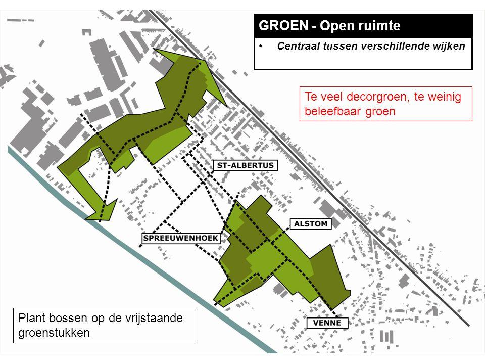 GROEN - Open ruimte Centraal tussen verschillende wijken Plant bossen op de vrijstaande groenstukken Te veel decorgroen, te weinig beleefbaar groen