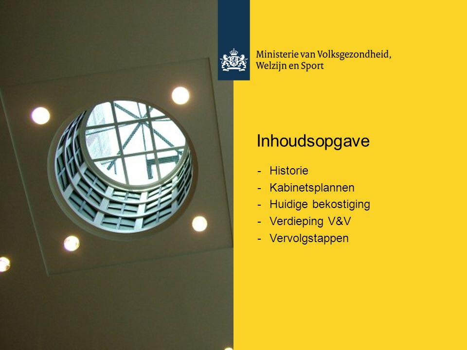 Inhoudsopgave -Historie -Kabinetsplannen -Huidige bekostiging -Verdieping V&V -Vervolgstappen