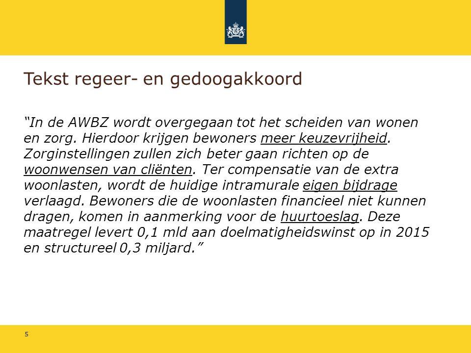 """5 Tekst regeer- en gedoogakkoord """"In de AWBZ wordt overgegaan tot het scheiden van wonen en zorg. Hierdoor krijgen bewoners meer keuzevrijheid. Zorgin"""