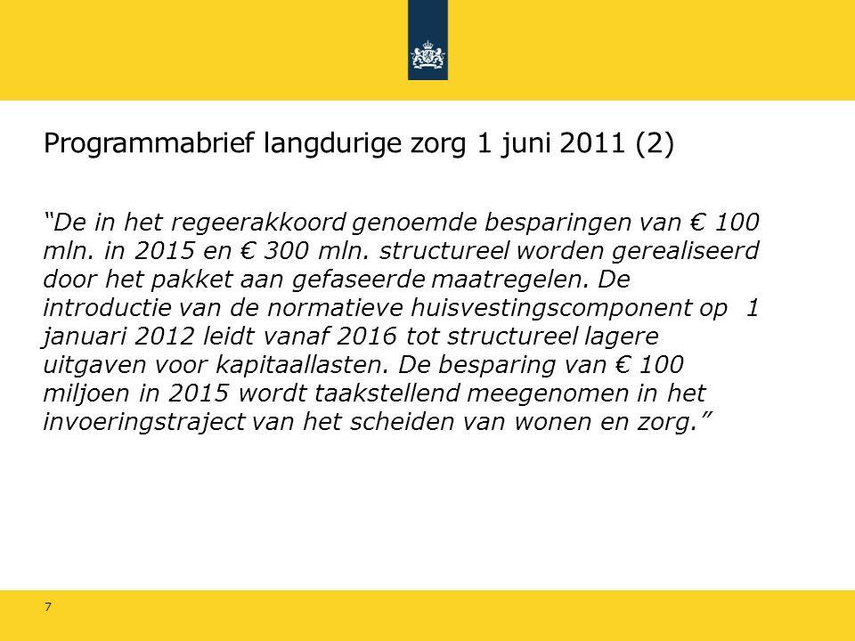 """Programmabrief langdurige zorg 1 juni 2011 (2) """"De in het regeerakkoord genoemde besparingen van € 100 mln. in 2015 en € 300 mln. structureel worden g"""