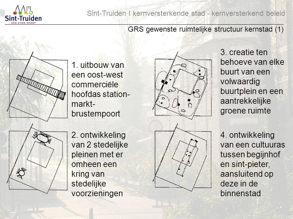 Sint-Truiden І kernversterkende stad - kernversterkend beleid GRS gewenste ruimtelijke structuur kernstad (1) 1. uitbouw van een oost-west commerciële