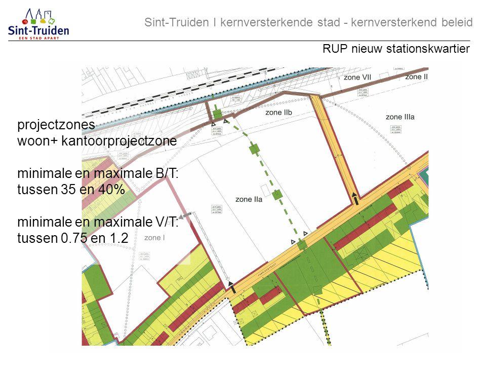 projectzones woon+ kantoorprojectzone minimale en maximale B/T: tussen 35 en 40% minimale en maximale V/T: tussen 0.75 en 1.2 Sint-Truiden І kernverst