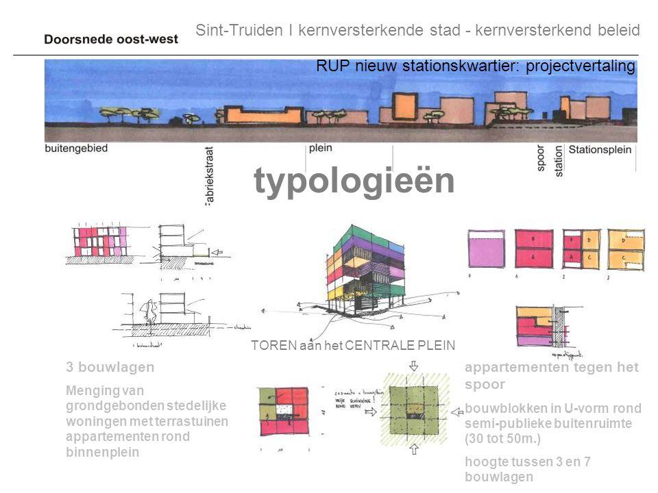 TOREN aan het CENTRALE PLEIN 3 bouwlagen Menging van grondgebonden stedelijke woningen met terrastuinen appartementen rond binnenplein appartementen t