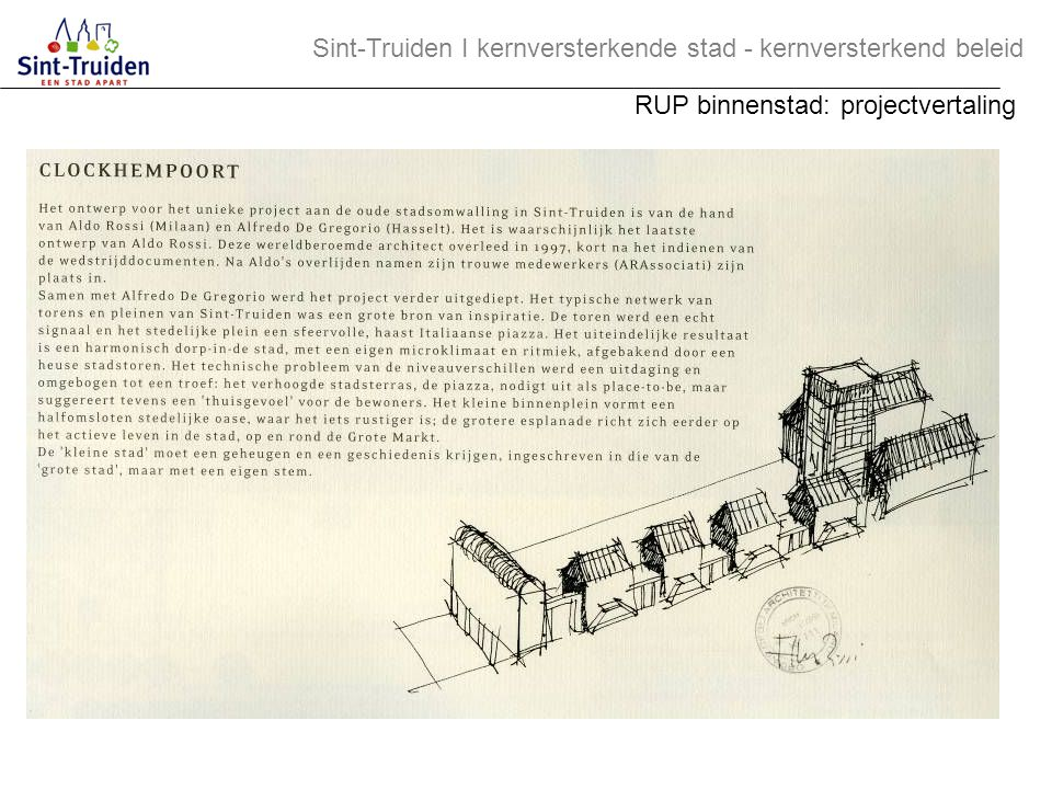 Sint-Truiden І kernversterkende stad - kernversterkend beleid RUP binnenstad: projectvertaling