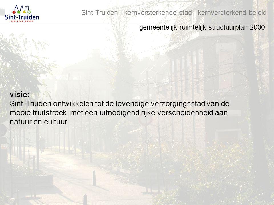visie: Sint-Truiden ontwikkelen tot de levendige verzorgingsstad van de mooie fruitstreek, met een uitnodigend rijke verscheidenheid aan natuur en cul