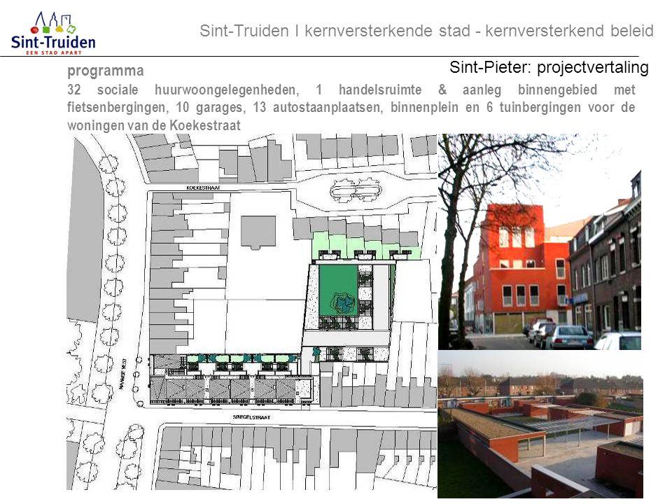 programma 32 sociale huurwoongelegenheden, 1 handelsruimte & aanleg binnengebied met fietsenbergingen, 10 garages, 13 autostaanplaatsen, binnenplein e