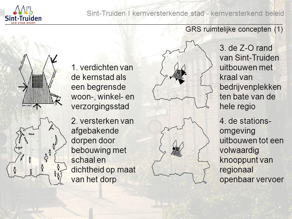 Sint-Truiden І kernversterkende stad - kernversterkend beleid GRS ruimtelijke concepten (1) 1. verdichten van de kernstad als een begrensde woon-, win