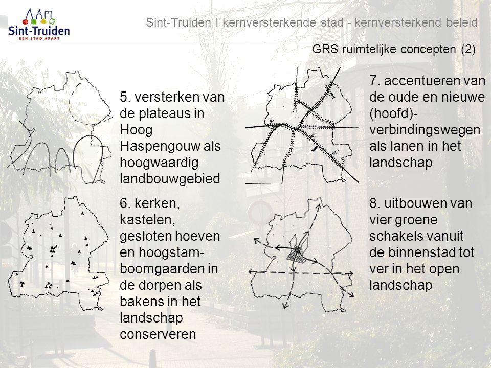 Sint-Truiden І kernversterkende stad - kernversterkend beleid GRS ruimtelijke concepten (2) 5. versterken van de plateaus in Hoog Haspengouw als hoogw