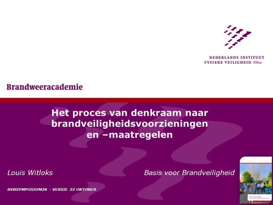 1 Het proces van denkraam naar brandveiligheidsvoorzieningen en –maatregelen Louis Witloks Basis voor Brandveiligheid BVBSYMPOSIUM28 - VERSIE 22 OKTOB