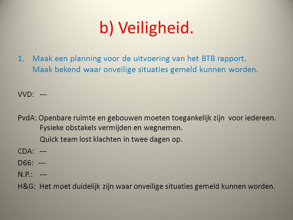 b) Veiligheid. 1.Maak een planning voor de uitvoering van het BTB rapport.
