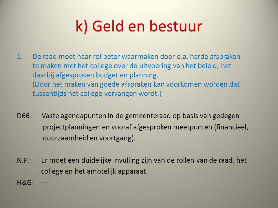 k) Geld en bestuur 1.De raad moet haar rol beter waarmaken door o.a.