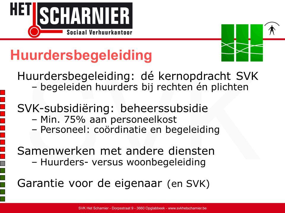 Huurdersbegeleiding Huurdersbegeleiding: dé kernopdracht SVK –begeleiden huurders bij rechten én plichten SVK-subsidiëring: beheerssubsidie –Min.
