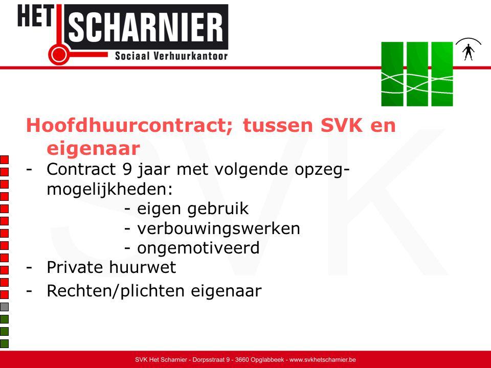 Hoofdhuurcontract; tussen SVK en eigenaar -Contract 9 jaar met volgende opzeg- mogelijkheden: - eigen gebruik - verbouwingswerken - ongemotiveerd -Private huurwet -Rechten/plichten eigenaar