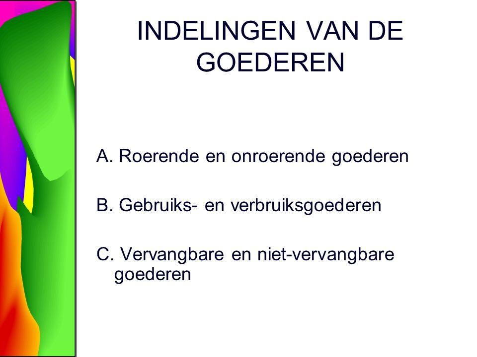 INDELINGEN VAN DE GOEDEREN A. Roerende en onroerende goederen B. Gebruiks- en verbruiksgoederen C. Vervangbare en niet-vervangbare goederen