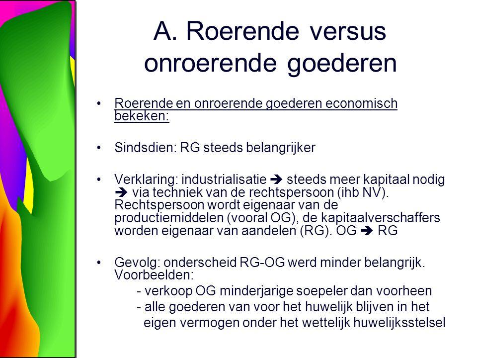 A. Roerende versus onroerende goederen Roerende en onroerende goederen economisch bekeken: Sindsdien: RG steeds belangrijker Verklaring: industrialisa
