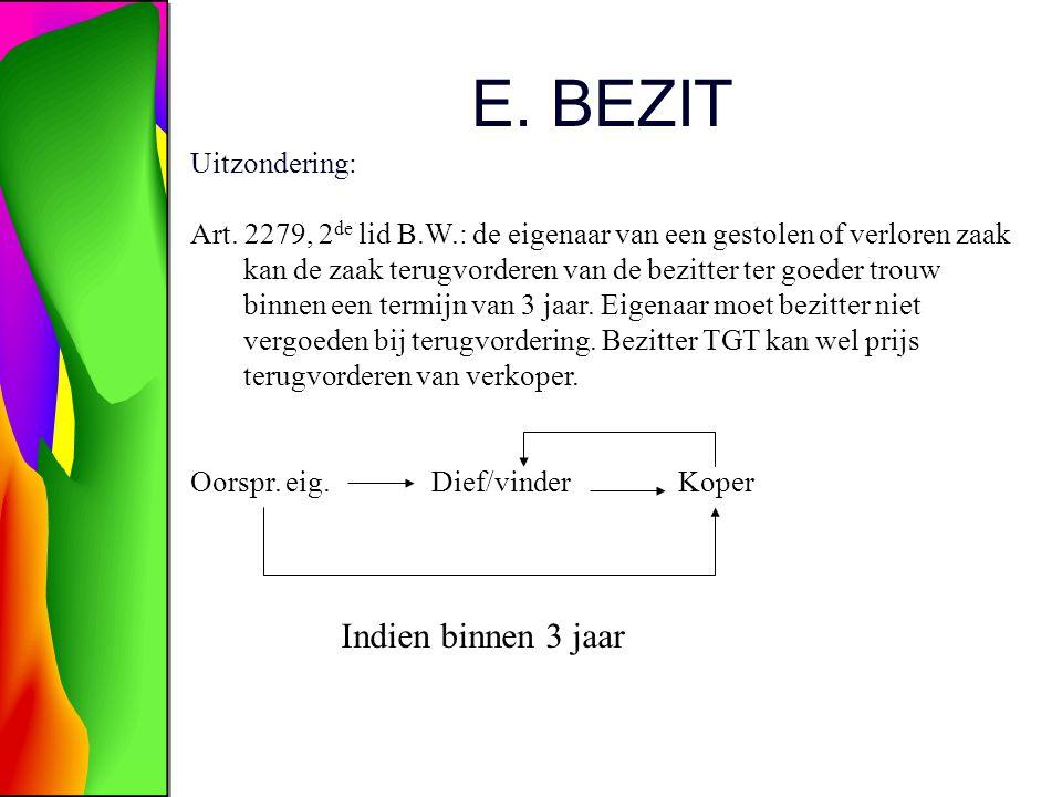 E. BEZIT Uitzondering: Art. 2279, 2 de lid B.W.: de eigenaar van een gestolen of verloren zaak kan de zaak terugvorderen van de bezitter ter goeder tr