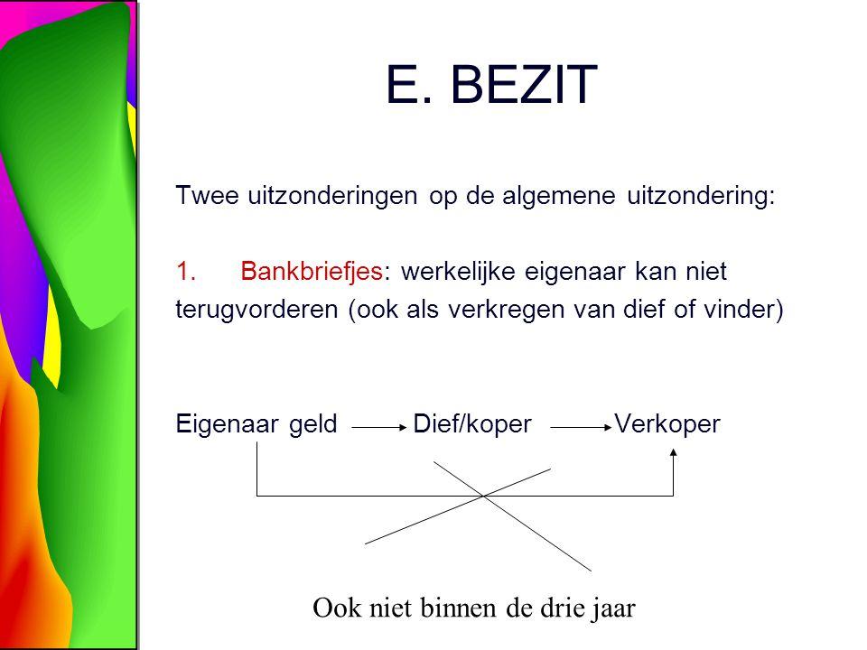 E. BEZIT Twee uitzonderingen op de algemene uitzondering: 1.Bankbriefjes: werkelijke eigenaar kan niet terugvorderen (ook als verkregen van dief of vi
